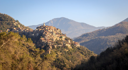 Apricale, one of the most beautiful medieval hill top village, Liguria,Italy
