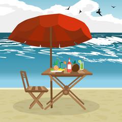 Summer on the beach: umbrella, sun, table, cocktail, coconut. Ve