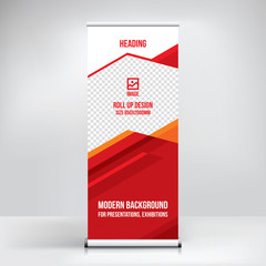Roll-up banner design, stand, vector template, modern background for an exhibition