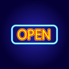 Classic OPEN neon sign on dark background. Retro neon sign with