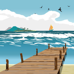 Sea landscape summer beach, old wooden pier, island and yacht in