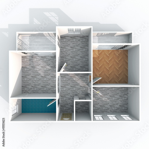 3d Interior Rendering Plan View Of Empty Roofless Home Apartment With Pavement Materials Room