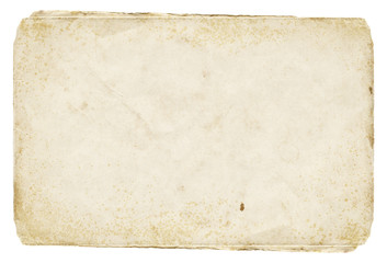 Shabby light paper blank with old spots. Vintage texture for design.
