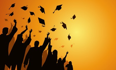 graduation celebration at sunset, throw caps