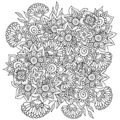 Pattern for Coloring book with abstract flowers