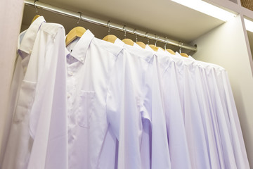 white shirts in closet