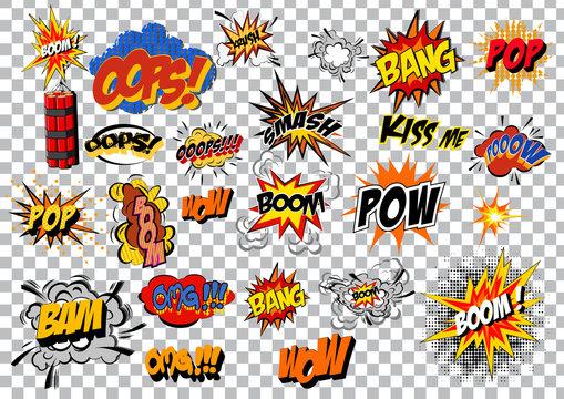 retro cartoon explosion pop art comic set. Vector
