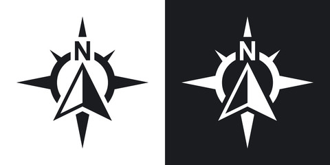 Compass concept icon, vector. Two-tone version on black and whit