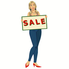 woman with a poster sale.Beautiful smiling girl holding a blank sale placard