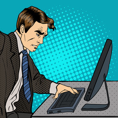 Anger Businessman. Businessman Works at the Computer. Pop Art. Vector illustration