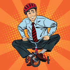 Businessman on Children Bicycle. Businessman Riding a Small Bicycle. Pop Art
