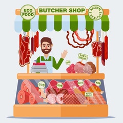 Butcher Shop. Meat Seller. Meat Products. Vector illustration