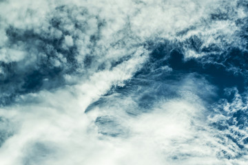 Unusual blue sky and white clouds