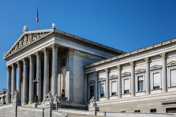 Historic building of the Austrian Parliament in Vienna, Austria.