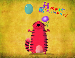 Birthday Card Cat Holding Balloon And Flower