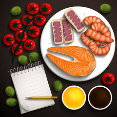 Salmon, shrimp, tuna, vegetables to prepare a delicious sea food and a notebook for recipes. Place for your text. Vector illustration.