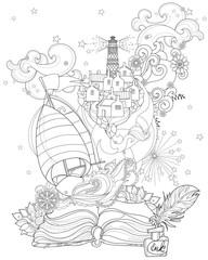Hand drawn doodle outline boat boho