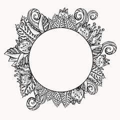 Floral frame. Ethnic retro design