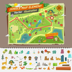jungle map with graphic elements - vector