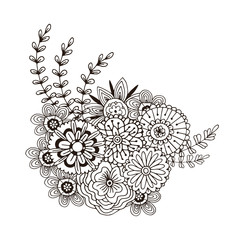 Vector pattern with abstract ornament of flowers. Adult coloring book page. Zentangle art for design decoration