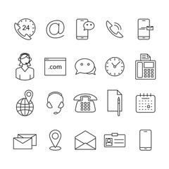 Contact us line icons.