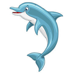Cheerful cute dolphin on white background