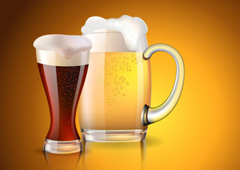 Two glasses with dark and light beer created with gradient meshes