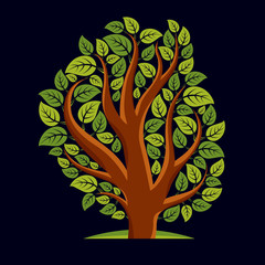 Art illustration of spring branchy tree, stylized ecology symbol