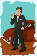 Retro man smoking cigar pipe