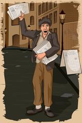 Retro man selling newspaper