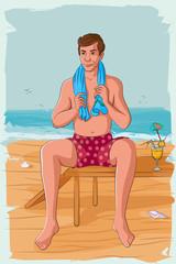 Retro man relaxing on sea beach