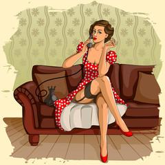 Retro woman chatting on phone