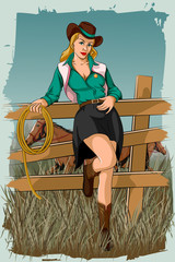Retro woman in horse ranch