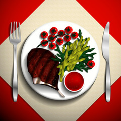 Grilled steak rib-eye and French bean with cherry tomato and arugula on white plate. Vector illustration.
