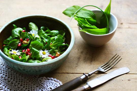 Salat - Feldsalat mit Gänseblümchen, Grantatapfel und Walnüssen, Bärlauch im Frühjahr, vegane pflanzenbeasierte Ernährung für ein gesundes Leben