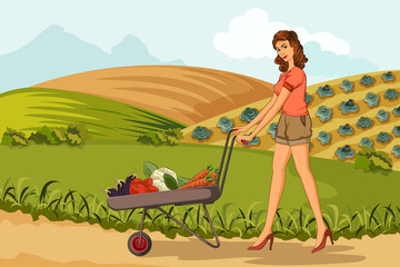 Retro woman with farm fresh vegetable