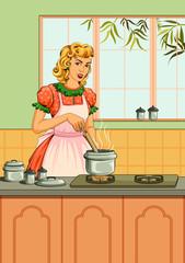 Retro woman in kitchen