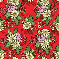 Floral seamless pattern. Flower background. Flourish texture with flower rose bouquet