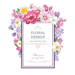 Floral background. Flower bouquetr vintage cover. Flourish card