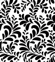 Floral seamless pattern. Swirl leaves background. Flourish seamless texture