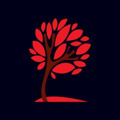 Artistic stylized natural design symbol, tree illustration