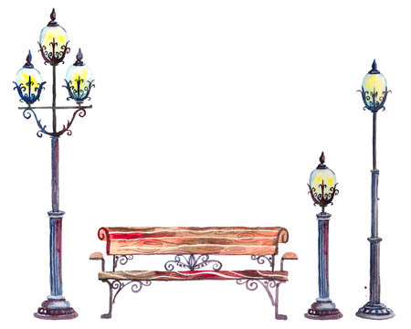 Watercolor set of street lanterns and bench