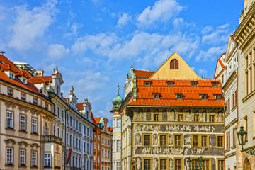 Keuken foto achterwand Theater Prague houses, Czech Republic. Old Town, Staromestska square,