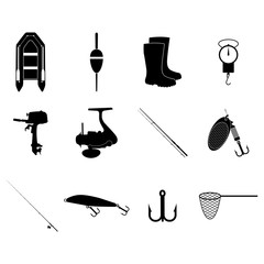 Fishing Icons Set. Vector concept illustration for design.
