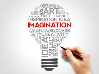 Imagination bulb word cloud concept