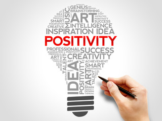 Positivity bulb word cloud concept
