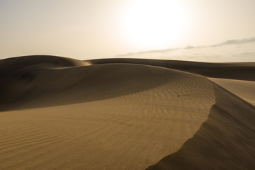 Desert with sand dunes in Gran Canaria, Spain