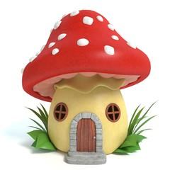 3d illustration of a mushroom house