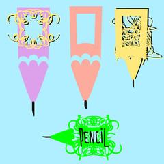 set of colorized texture pencil logo