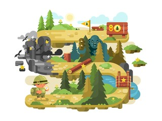 Adventure on a forest trail flat design